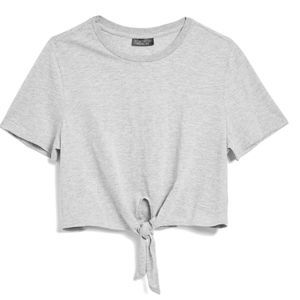 TopShop Knot Front Gray T-Shirt